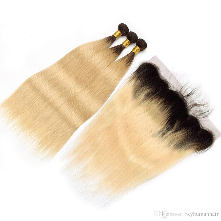 옹 브르 (613) 금발 번들로 정면 어둠의 루트 1B / 613 스트레이트 헤어 번들로 정면 꿀 금발 브라질 머리 직물 번들