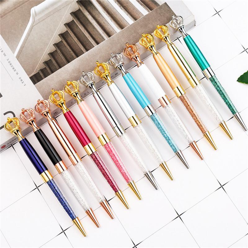 NEW ولي قلم حبر جاف مع بلينغ ليتل كريستال المعدنية القلم الطلابية مكتب مدرسة هدية لوازم التوقيع الأعمال القلم