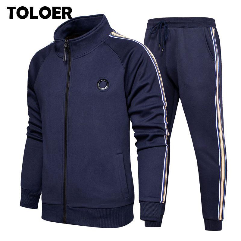 Fall-Laufsets Herren Langarm-Jacke Jogginghose Sport Fitness Hoodies Sweatshirt Pants Gym Sport Anzug Male Anzug
