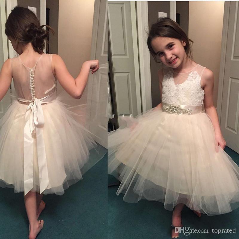2019 champagne bloem meisje jurken voor bruiloften sheer nek Zie door appliques sjerp korte meisjes pageant jurk kind verjaardag feestjurken