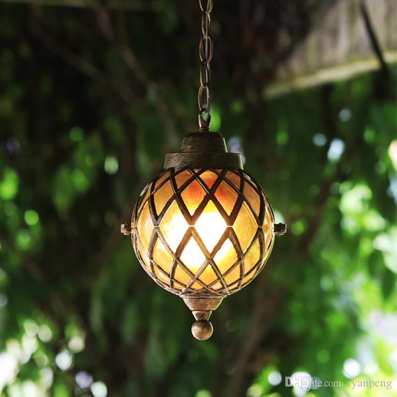 Rustic design outdoor chandelier Garden hallway Corridor suspension luminaire Waterproof home decor industrial pendant lamp