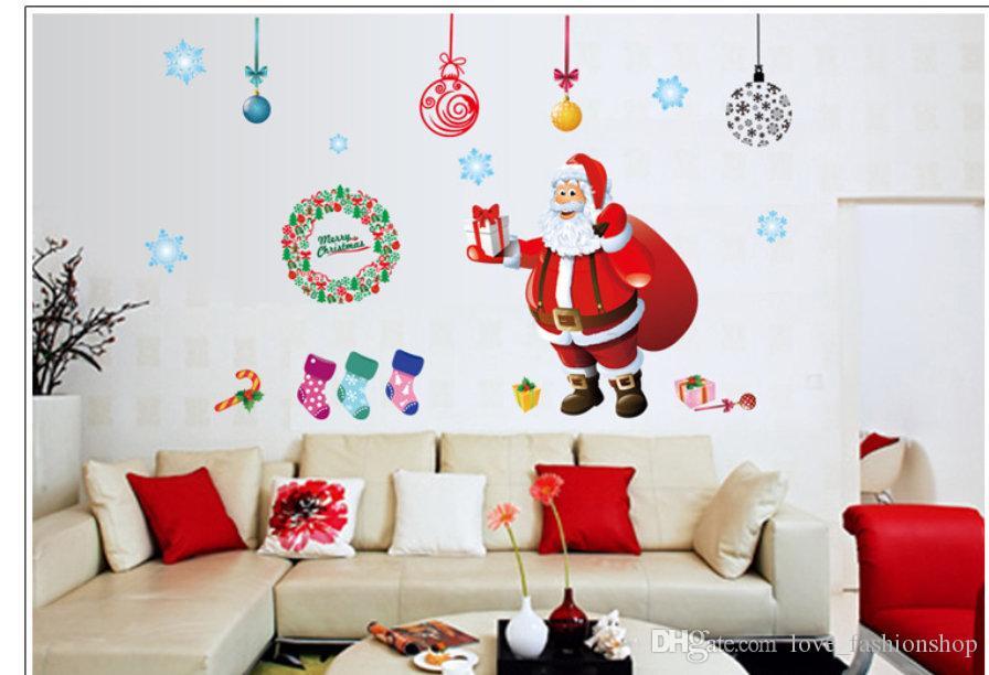 التجزئة كبير الاطفال عيد الميلاد سانتا ملصقات الحائط غرفة نوم غرفة المعيشة الإبداعية ملصقات خلفية ملصق ديكور pvc خلفيات ديكور المنزل