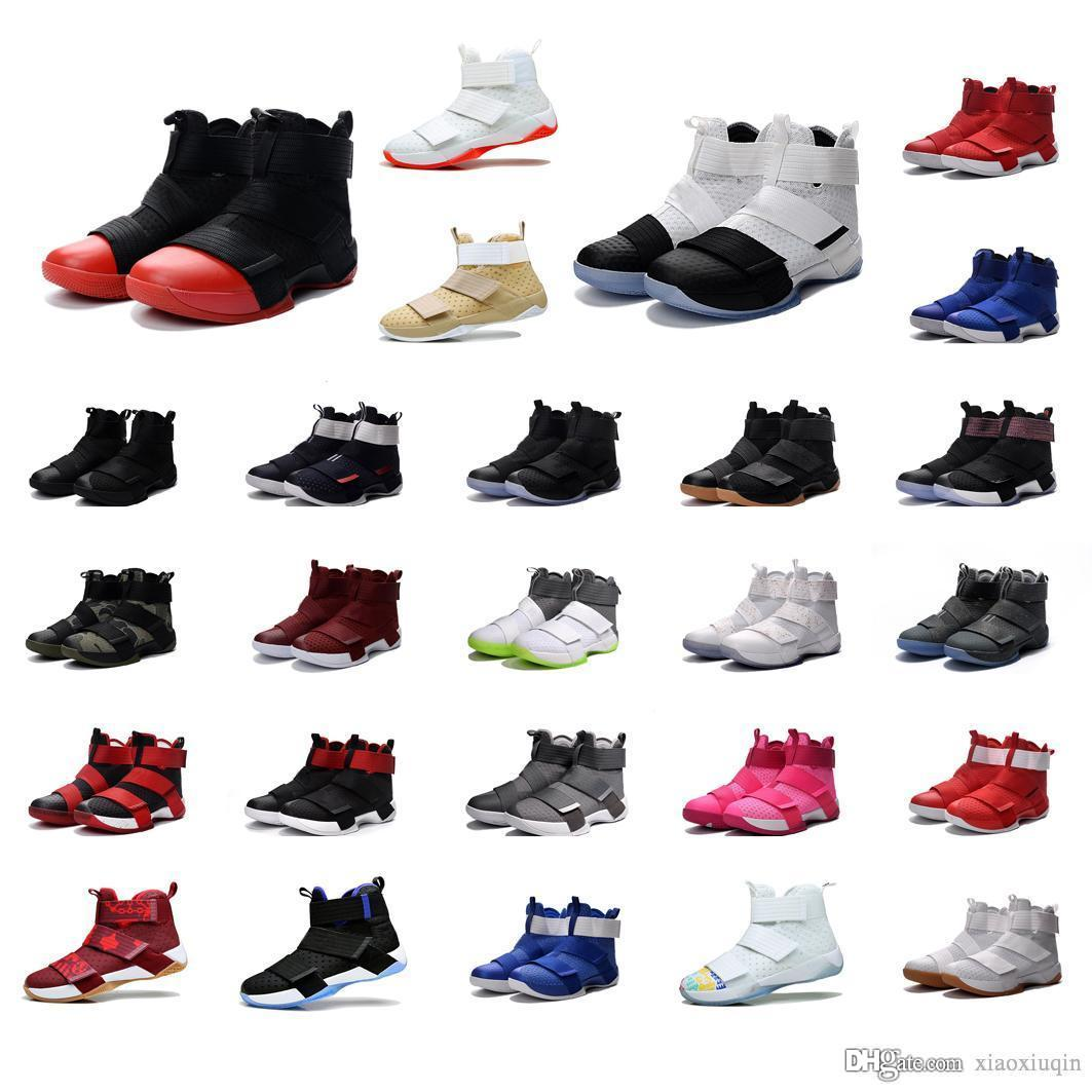 info for a7e80 92a98 2019 Cheap Mens Lebron Soldier 10 Basketball Shoes For Sale USA Oreo Black  Gold White Wolf Grey Red Multi Color High Tops Sneakers Boots For Sale From  ...
