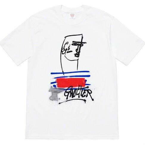 Erkek ve Kadınlar Asya S-XL için 2019 Mens Tasarımcısı High Street Tide Tişört Marka Stil Yaz Casual Doodle Yüz Kısa Kollu Tişört