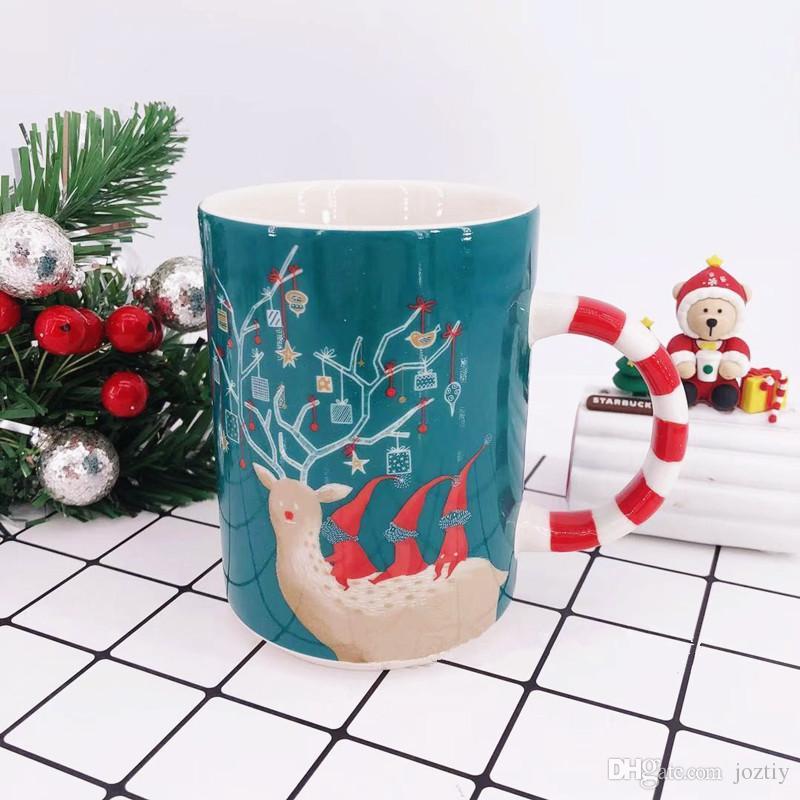 Starbucks Christmas Coffee Mugs.Authentic 2019 Starbucks Santa Reindeer Cane Candy Mug Green Christmas Elk Ceramic Coffee Cup 12oz New Year Gift View Coffee Mugs View Mugs From