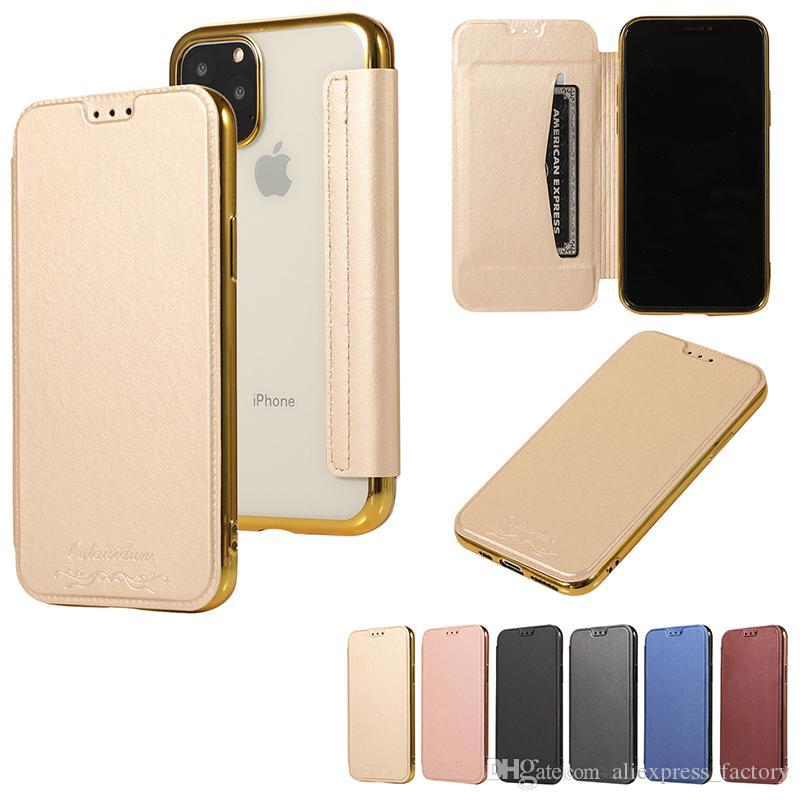 Placage Flip Cover en cuir PU Etui Portefeuille avec carte Machines à sous Full Body pour iPhone 11 Pro Max XS XR X 8 7 6 Plus Samsung Galaxy S10 E S9 Note 10