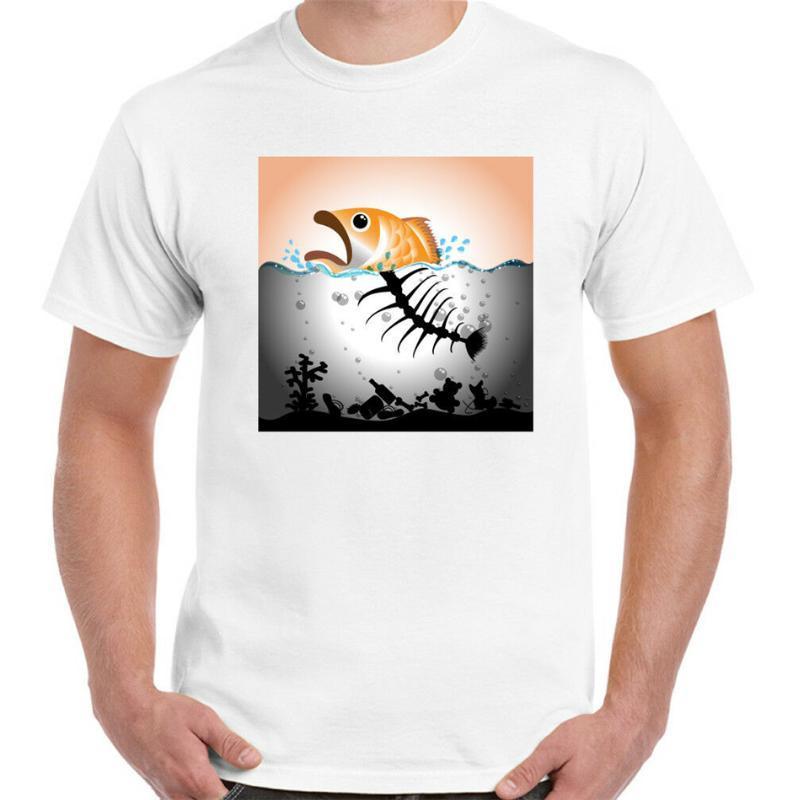 Camiseta para hombre del medio ambiente Política Océano plástico Global Warming Contaminación Pescado regalo de cumpleaños Tops Camiseta