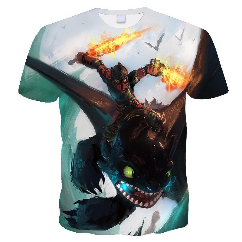 Wie Drachenzähmen 3d-T-Shirts Männer Anime zahnlos Tshirts Cartoon-T-Shirts Kühle Traumarbeit Teen Shirt Souvenir Druck