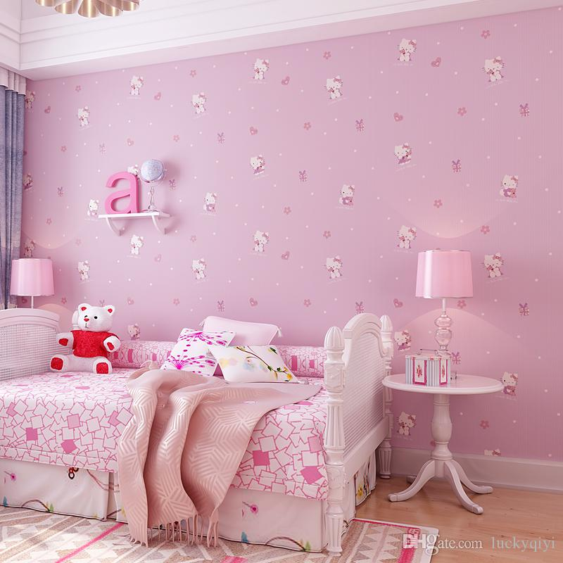 New Cute Cartoon Cat Childrens Room Non Woven Tv Home Wall Paper 3d Stereo Pink Girl Princess Room Bedroom Wallpaper Warm Football Wallpapers Free 3d Desktop Wallpaper From Chenqiyi 12 07 Dhgate Com