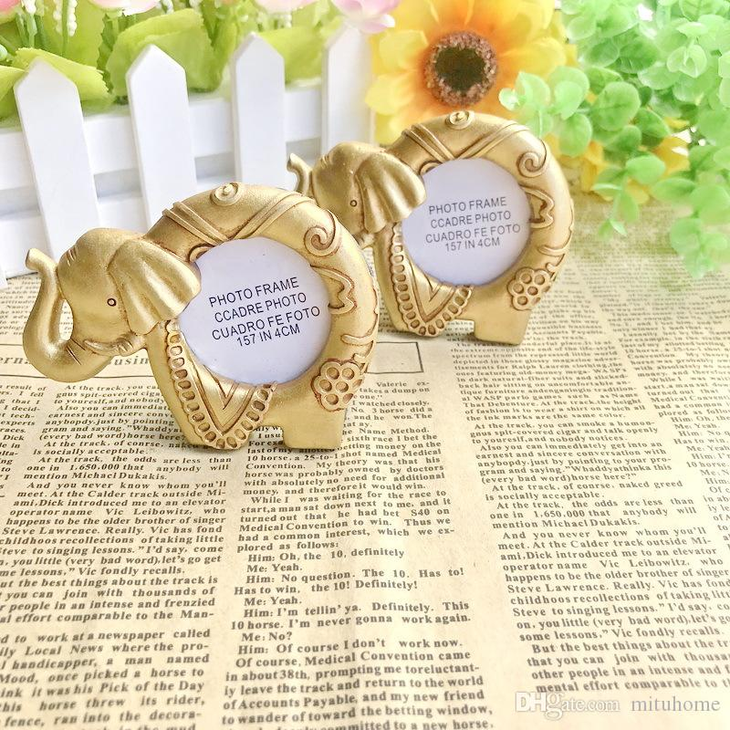 50pcs New Vintage Gold Elephant Photo Frame Resin Place Card Holder Wedding Gifts Party Table Decoration