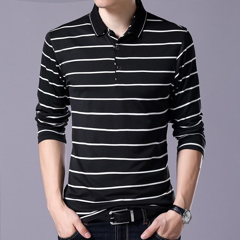 """Pop2019 Goods In Stock """" Pure Cotton Long Sleeve Korean Slim Man Lapel Polo Stripe T Pity Men's Wear 8250"""