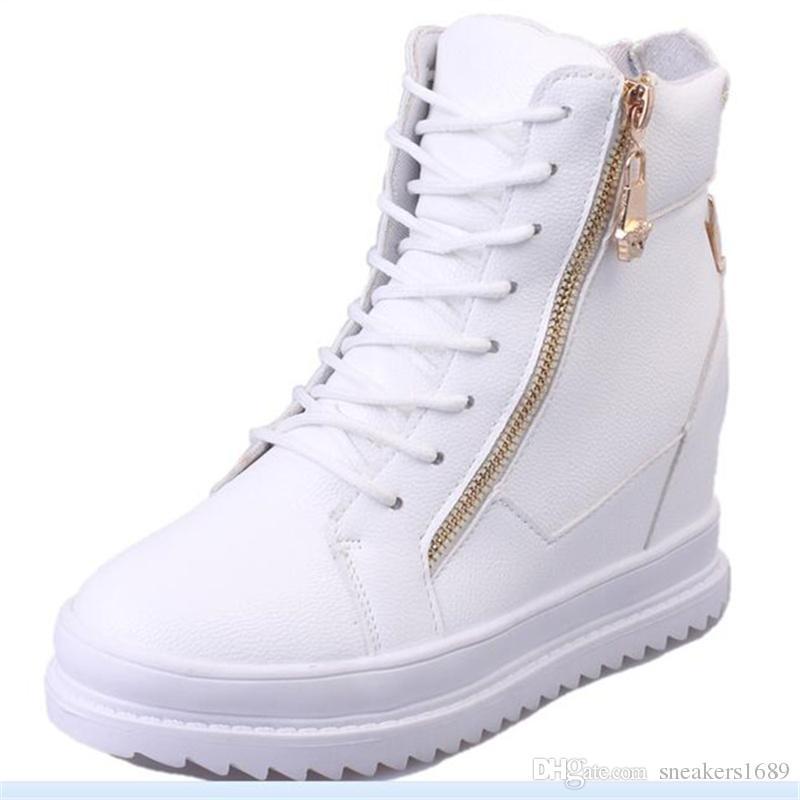 Damen High-Top Freizeitschuhe Damen seitlichen Reißverschluss flachen Boden Damen Stiefel Spitze Stiefeletten Freizeitschuhe zapatos mujer X67