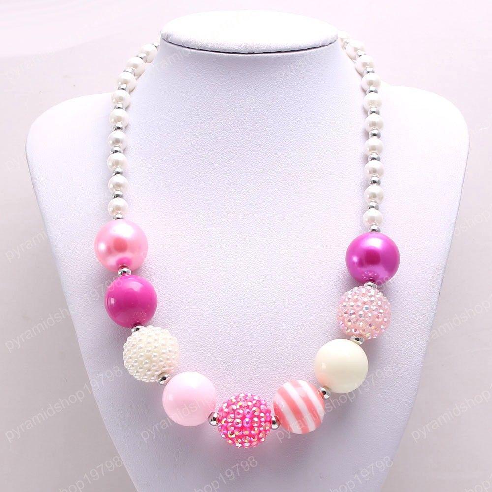 bébé + rose mignon enfants diy rouge + blanc trapu collier de perles perles de strass mode collier pour la fête bijoux cadeau