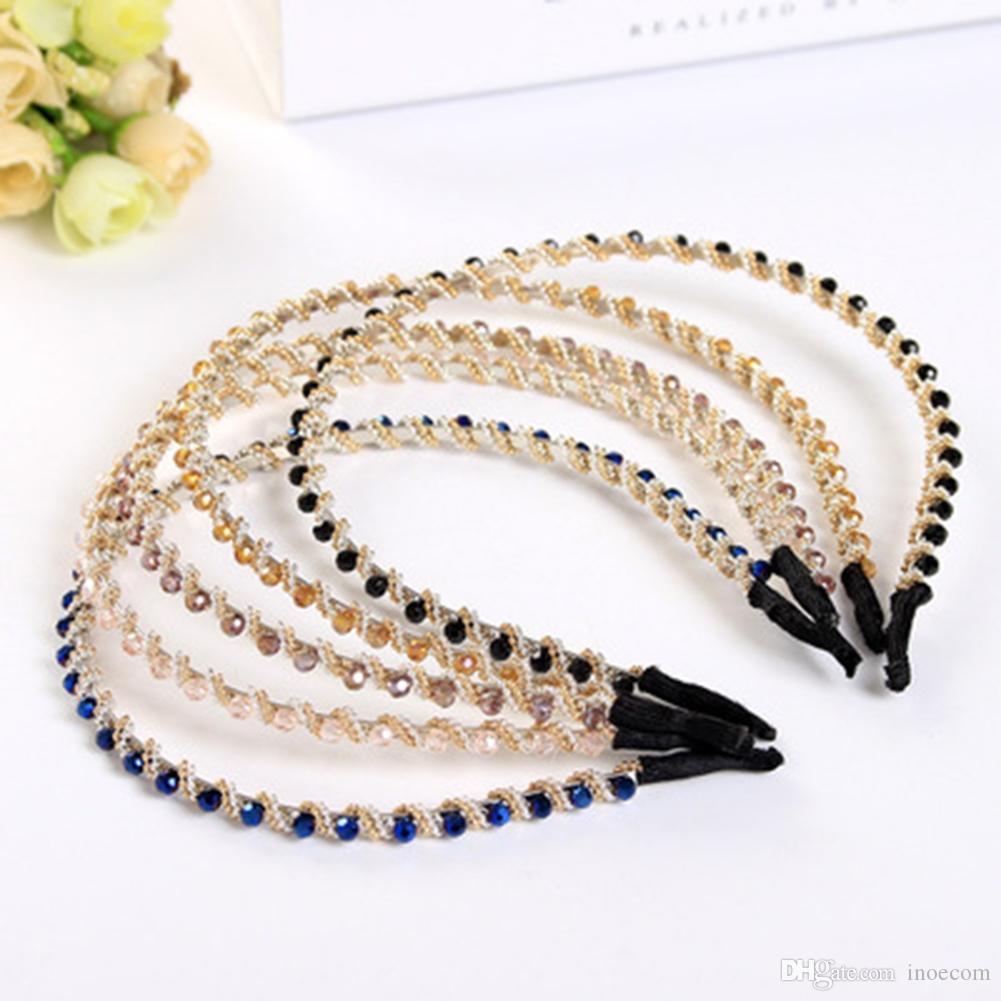 Single Row Crystal Hair Bands Handmade Rhinestone Beading Headband Hairband for Women Girls Wedding Bridal Hair Accessories