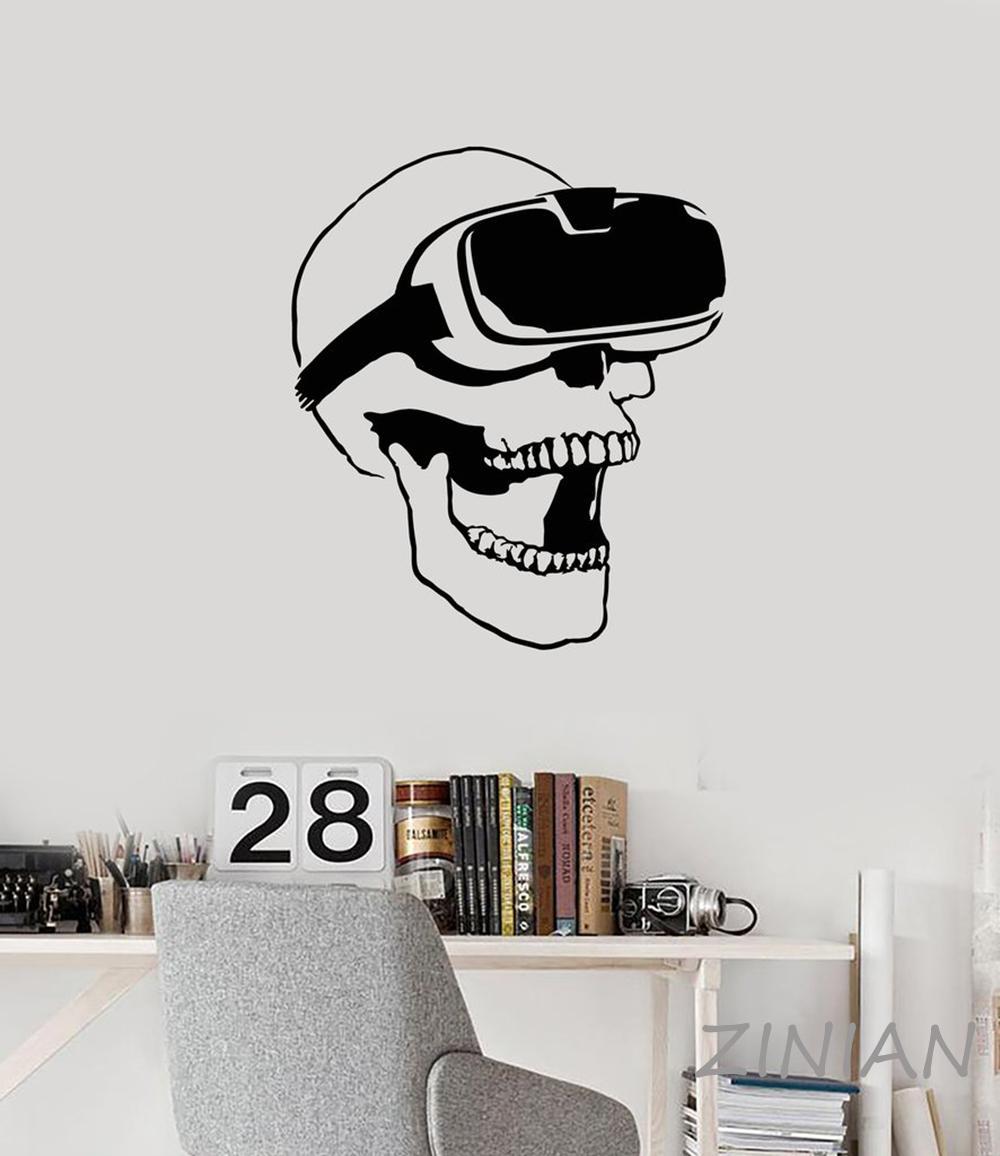 Crânio VR Headset de Realidade Virtual do jogo de vídeo adesivos de parede decalque Mural Wallpaper for Boys Caverna Decor Man