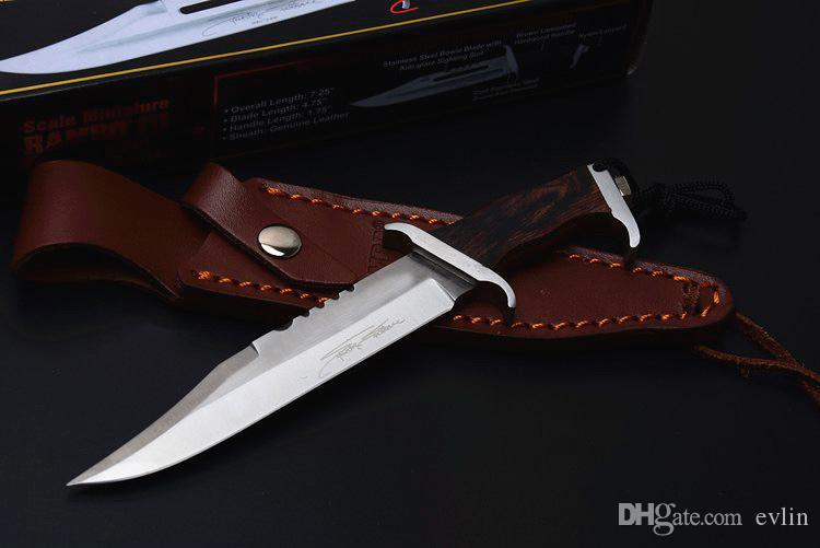 Специальное предложение маленький Рэмбо III выживания прямой нож 440C лезвие Сатинировки деревянной ручкой фиксированным лезвием ножи с кожаными ножнами подпись издание