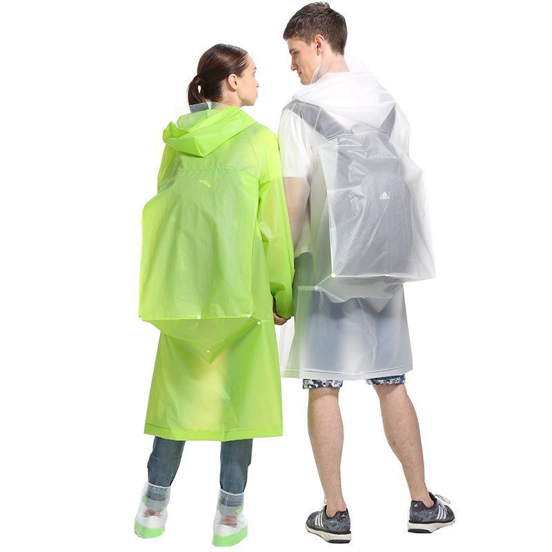 Capas de moda con Mochila Cubierta mujeres de los hombres adultos EVA transparente con capucha del impermeable para la Familia al aire libre ropa impermeable impermeable capa de la cubierta