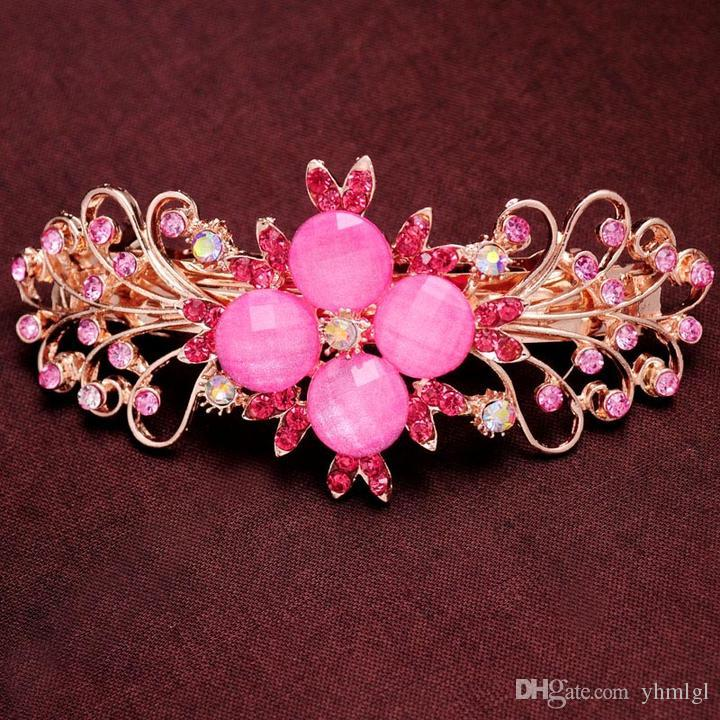 New barrette Hair Clip Rhinestone Red/Pink/Blue/Champagne crystal Flower Hairpin