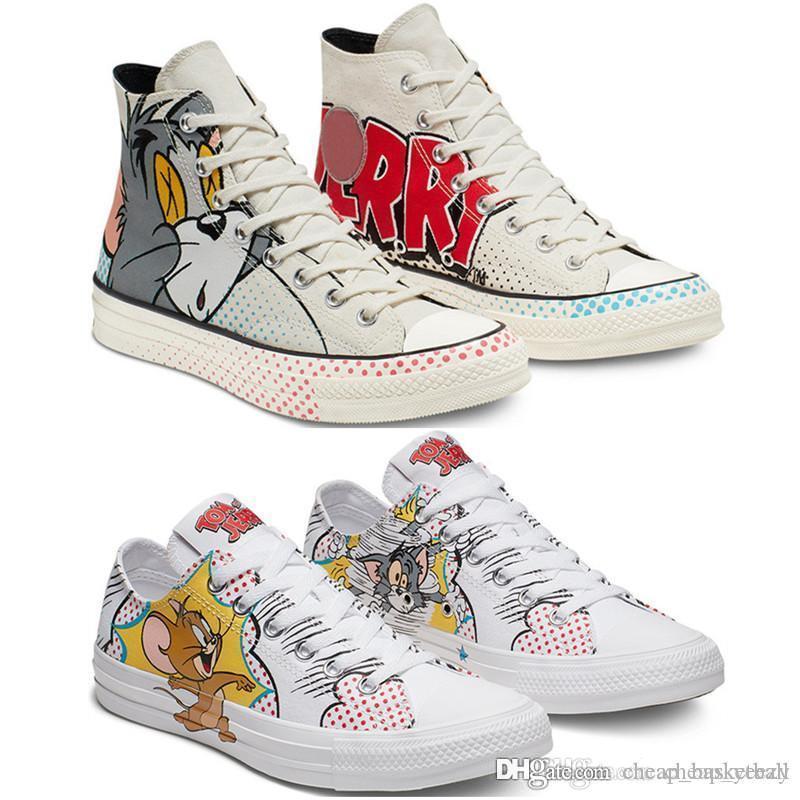 70 개 년대 1970 년대 톰스 제리 척 HI 캔버스 신발 화이트 멀티 블랙 스케이트 보드 Graffit 캔버스 신발은 최고 클래식 운동화 스포츠