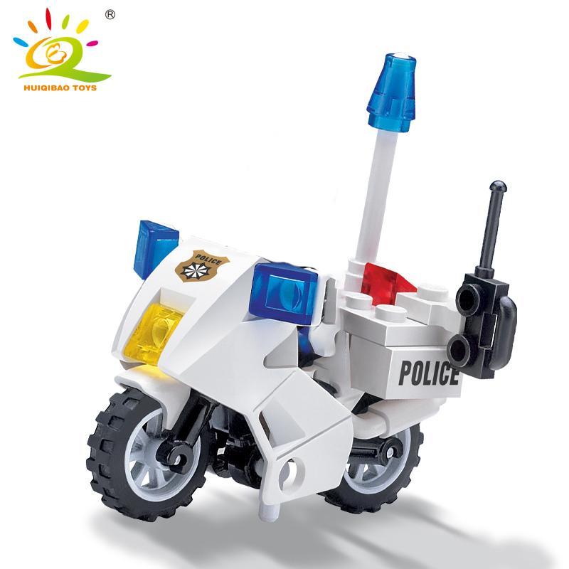City Police Patrol Motorcycle Building Blocks Sets City Street Bike Policeman Figures Model Bricks Educational Toy For Children