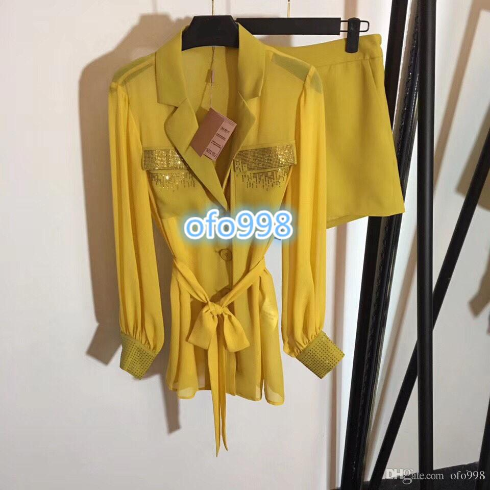 High end women girls Pants suit lapel Beading Hot drilling pocket Lace Waist Long sleeve blazer top tee coat and Wide leg shorts