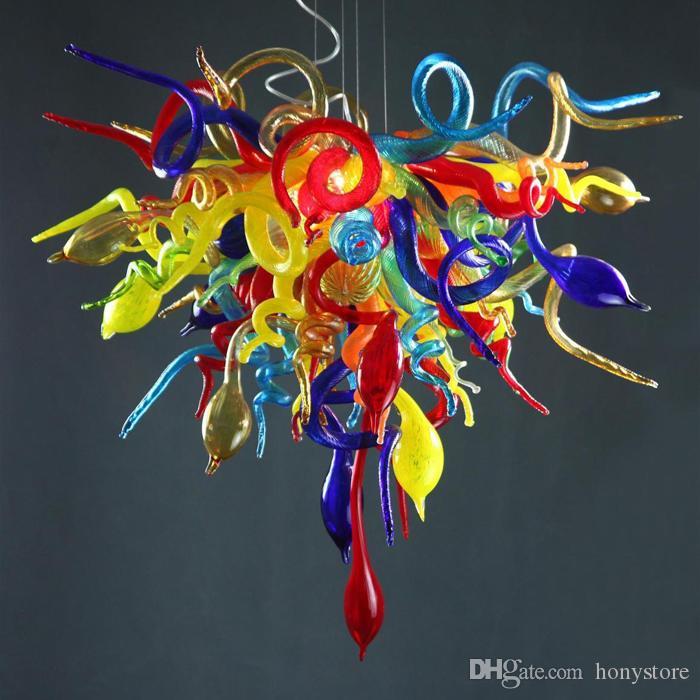 Lustre colorido colorido lâmpada de vidro de Murano Lâmpada de pingente de vidro 900-1200lm poupança de energia G9 LED para decoração do banheiro