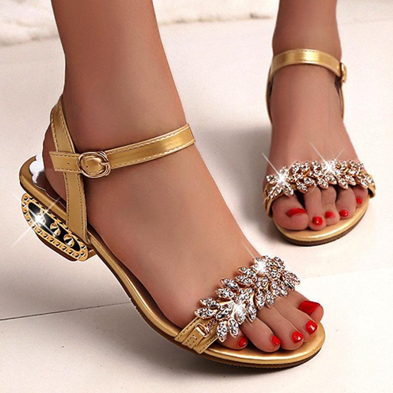 Europäische und amerikanische neue Sandalen der Frauen öffnen Zehe Ledersandalen elegante Kristall Sommerschuhe der Frauen C162