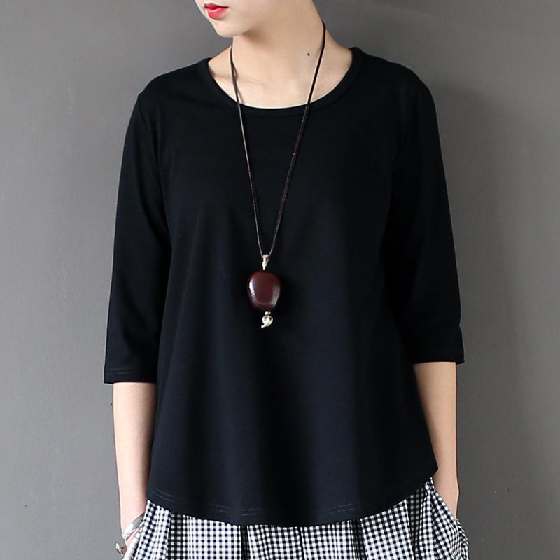 Johnature Kadınlar Pamuk T-Shirt Siyah Beyaz 2019 Yaz Yeni Yarım Kollu O-Boyun Bir Boyut Rahat Örme Moda Y19060601 Tops