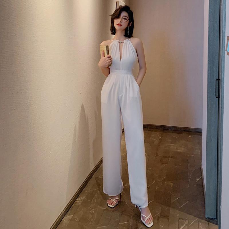 De haute qualité en mousseline de soie Jumpsuit pour l'été des femmes Nouvelle-coréen Tempérament Sexy évider Halter Tenues Mode simples barboteuses