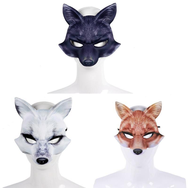 New Halloween Party Уникальная партия для взрослых Маскарад Half Face 3D Black Реалистичные животных маска Маска Halloween Wolf Half Face