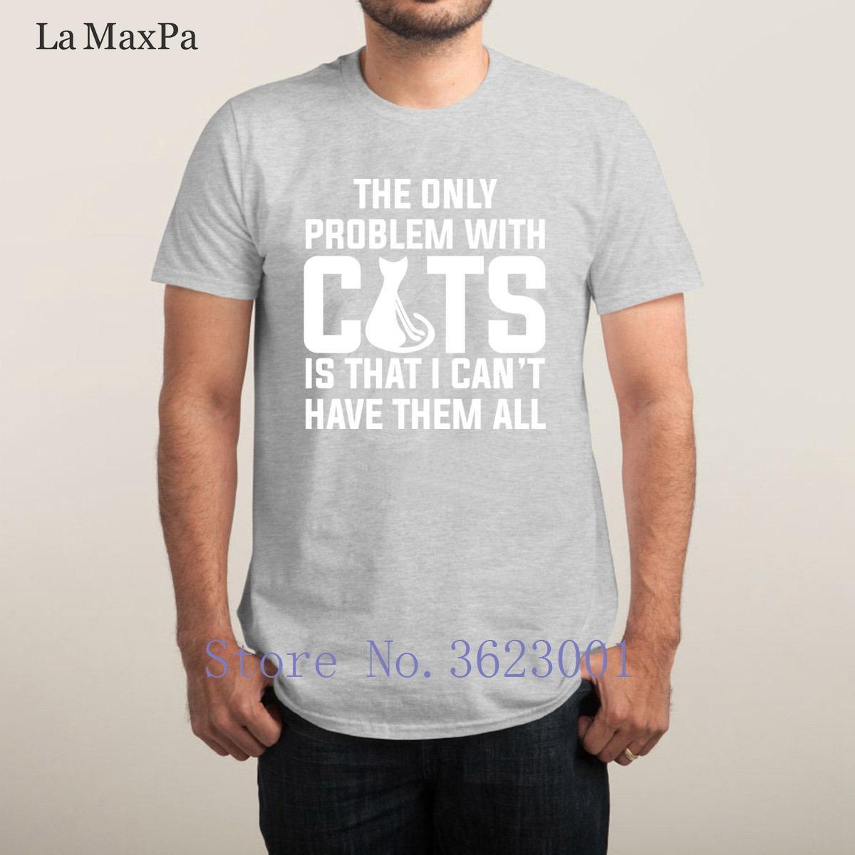 De punto de ocio Man gatos no puede tener a todos T adelgazan las camisas unisex Camiseta Hombre de construcción de cuello redondo sueltos