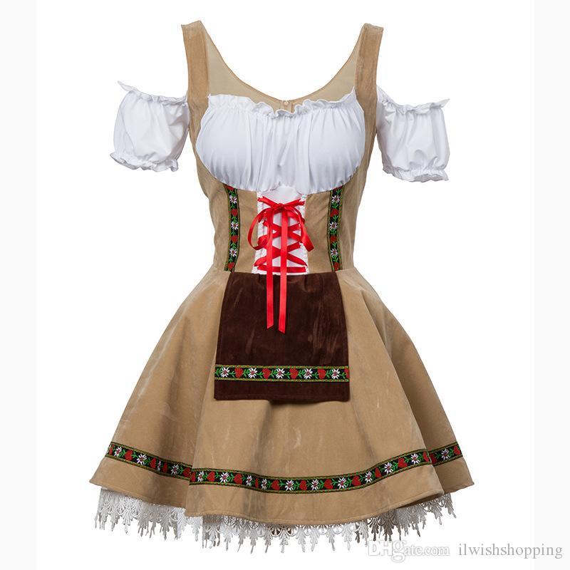 مثير مهرجان أكتوبر البيرة فتاة حلي خادمة بغي ألمانيا البافارية قصيرة الأكمام ملابس تنكرية فستان درندل للكبار المرأة تأثيري