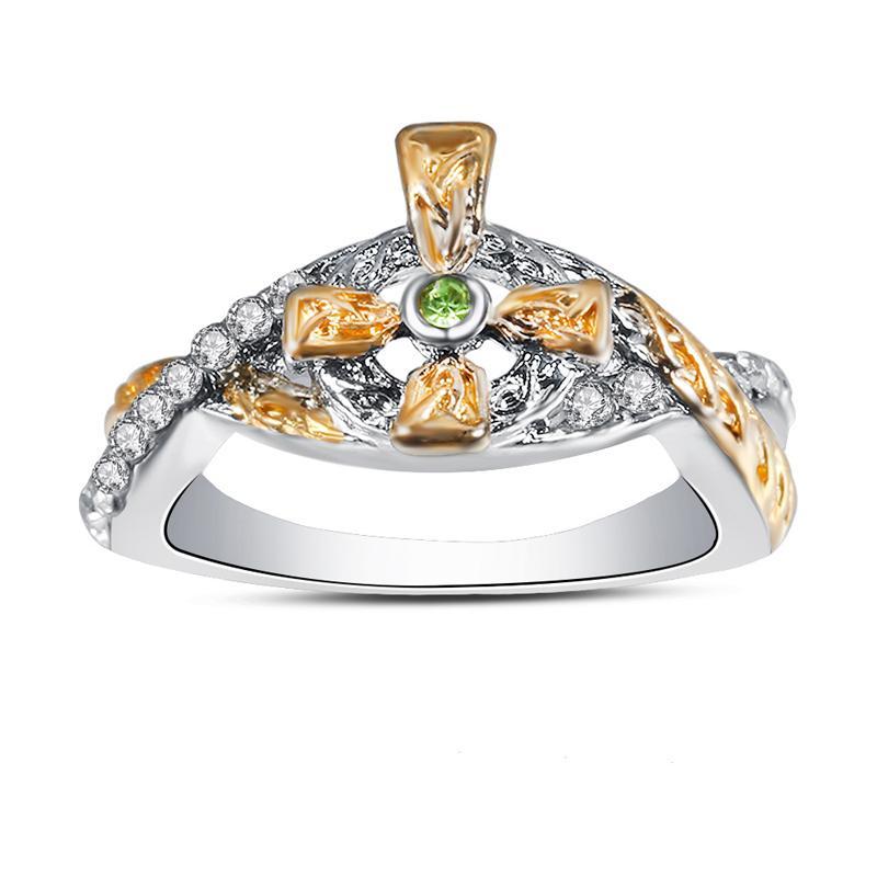 Anelli traversa di modo color oro per le donne gioielli di alta qualità Verde Bianco zircone festa con Dio aggancio di cerimonia nuziale anello Bague