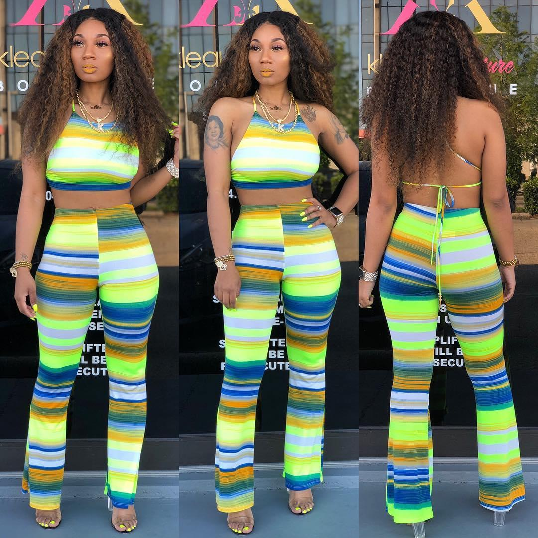 dresses for womens Ladies designcostume Sexy striped print crossover Two piece suit
