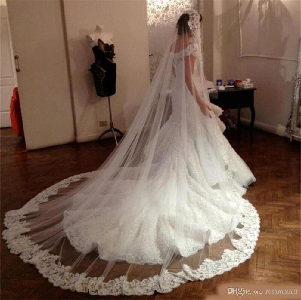 New Style Bridal Veils Applique Cheap Price Wedding Accessories Lace Edge 3M Chapel Length Brides Veil For Weddings