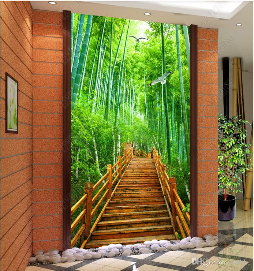 3d Wallpaper Custom Photo Bamboo Forest Stairs Forest Porch Background Wall Painting Muals Wall Paper For Walls 3 D Wallpaper Wide Wallpaper Wide