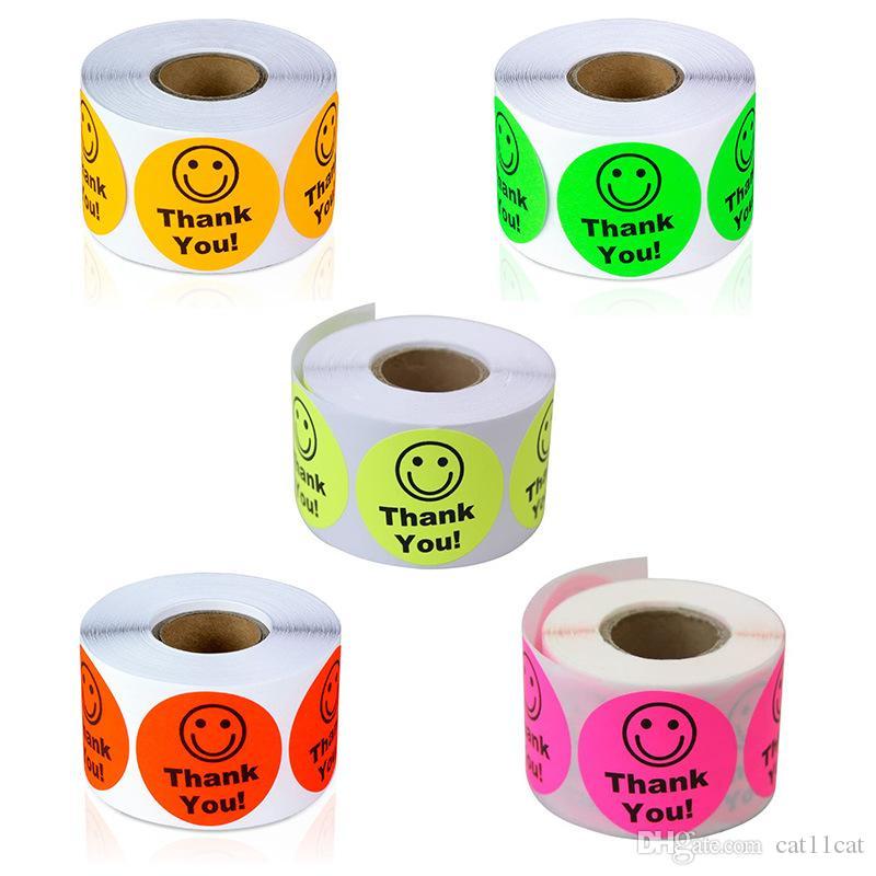 Colorido Cara de sorriso agradece-lhe etiquetas Scrapbooking 500pcs Rodada Partido 1 polegada favores etiqueta Adesivos Rolls S