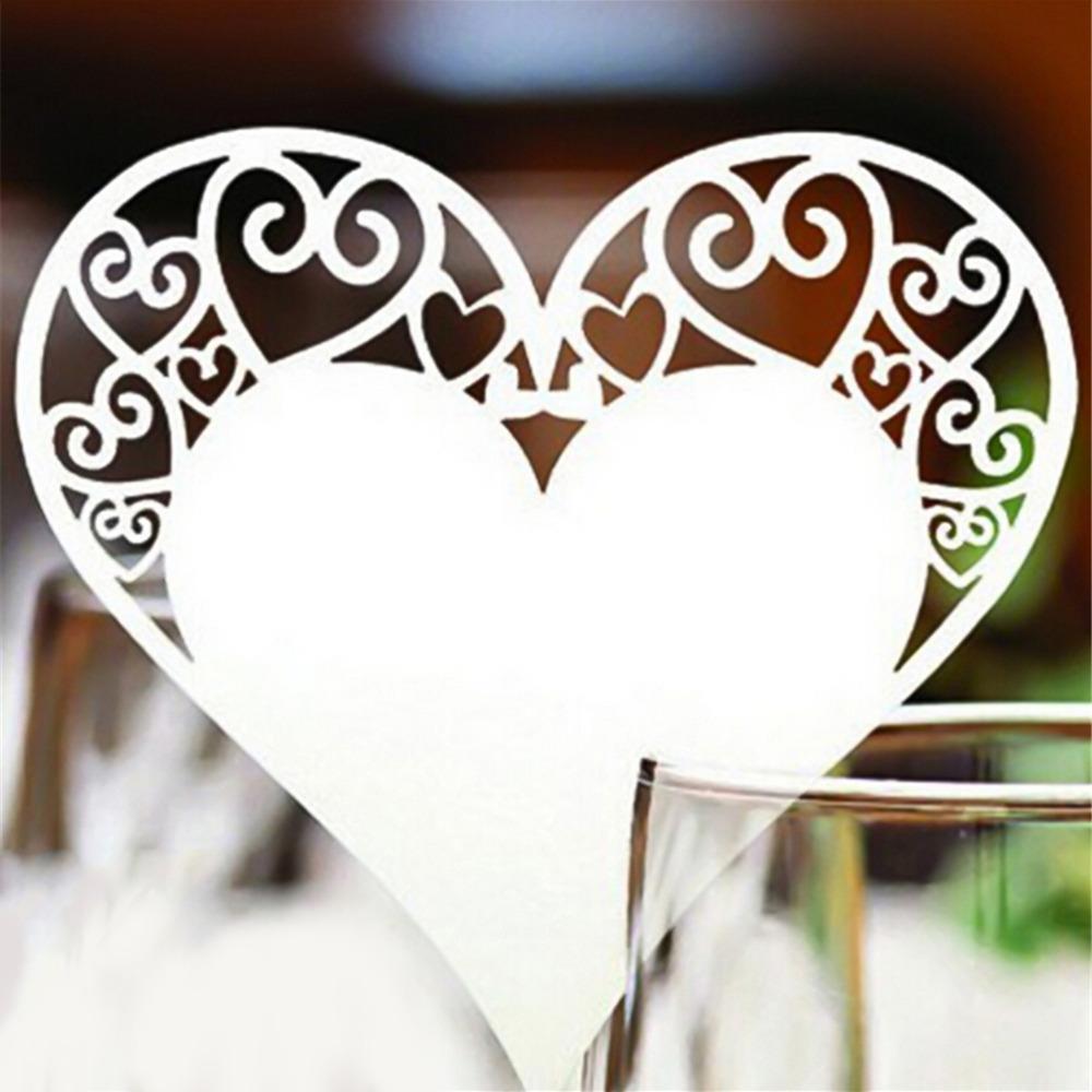 Новые 50 шт. / компл. свадебный стол украшения место карты лазерная резка сердца цветочный бокал вина место карты для свадьбы украшения