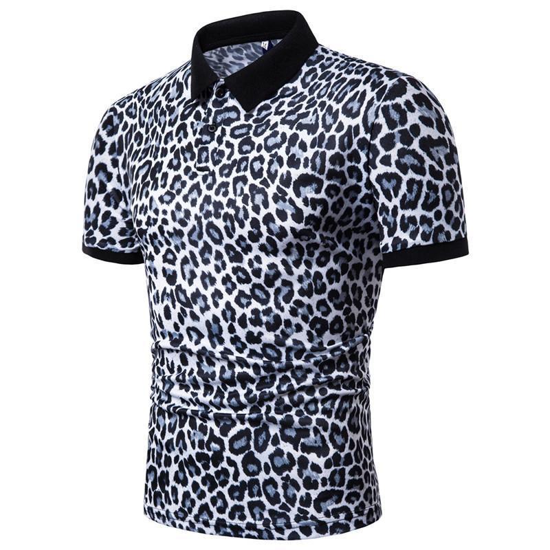 Masculino Casual Moda Polo Tees Manga Curta Tops 19ss Designer Mens Leopard Polos Verão