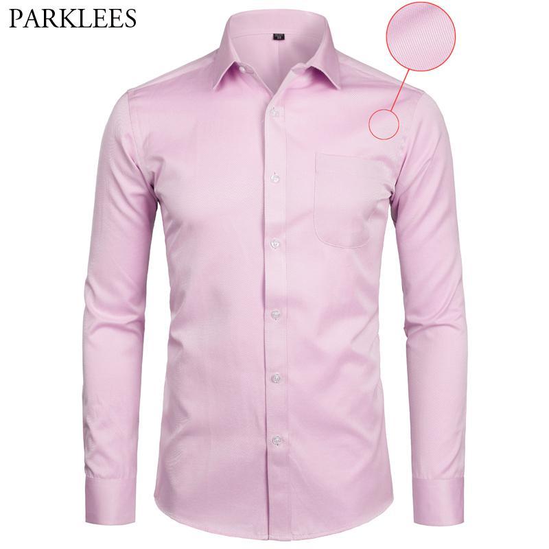 Vestido de manga larga sólido Slim Fit Business Casual Camisa formal de los hombres con Pocket Camisa rosa tamaño 4XL 5XL 6XL 7XL 8XL