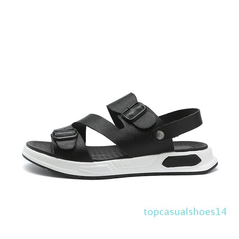 ZERO PLUS Boucle cuir pour hommes de Split Bracelet Classics Sandales d'été Chaussures Homme Plage Respirant Gladiator sandales hommes T14 Mode