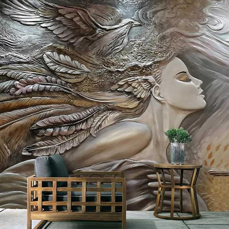 Carta da parati di goccia di trasporto su misura 3D creativo in rilievo di bellezza del pavone di arte della parete murale camera da letto Ingresso pittura murale Wallpapers