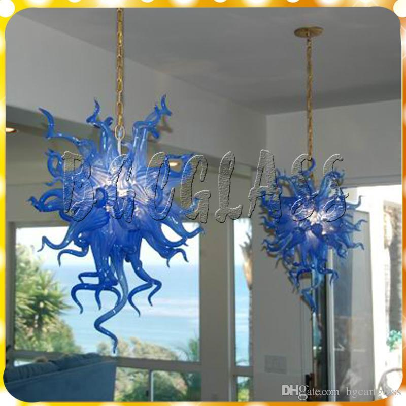 Modern Light Fixture Hand Blown Glass Chandelier Lighting Dining Room Lights Hanging Lamp Blue Decoration Lights for Home