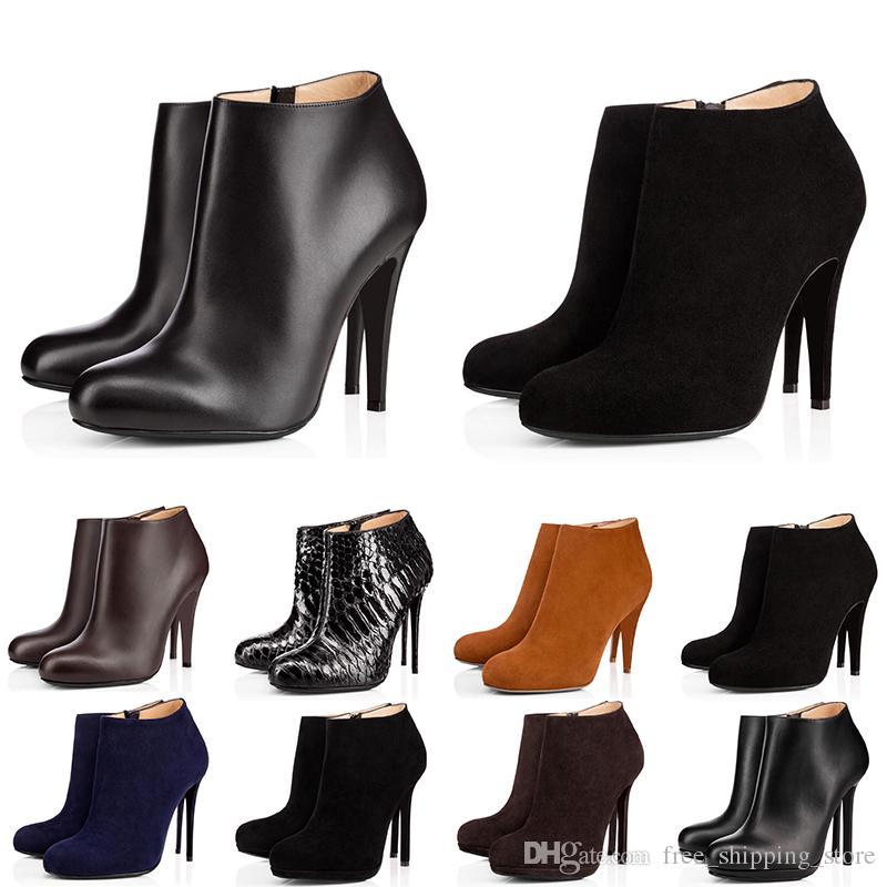 2020 красные нижние женщины пинетки высокие каблуки 8 см 10 см 12 см черный каштановый темно-синий моды кожа зима ботинок женщина обувь