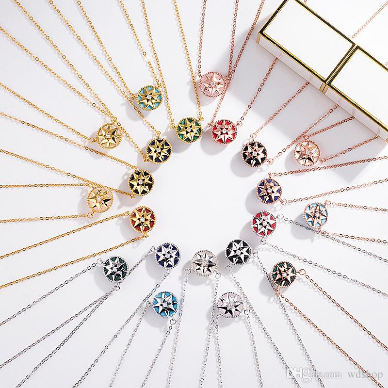 925 Sterling Silver Bracelet For Women Girl Eight Awn Star Compass Charms Bracelets Fashion Crystal Natural Stone Designer Bracelets
