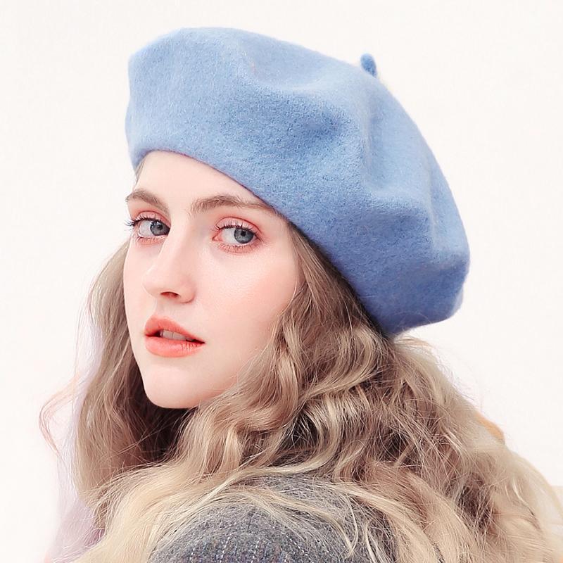 Lana Beret Cappelli di inverno delle donne del cappello francese del Ragazze Beret Hat per le donne del cappello Berretto piatto Autunno Inverno solido colore di modo di feltro Berretti