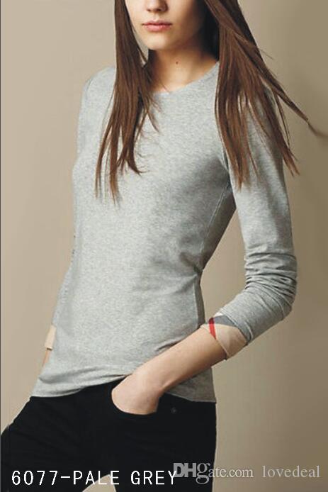 حار بيع مصمم إمرأة فاخر الملابس البحتة لون قميص منقوش الحدود تصميم مصمم العلامة التجارية تي شيرت الأكمام الطويلة الرقبة سكوب قمم المحملات S-XXL