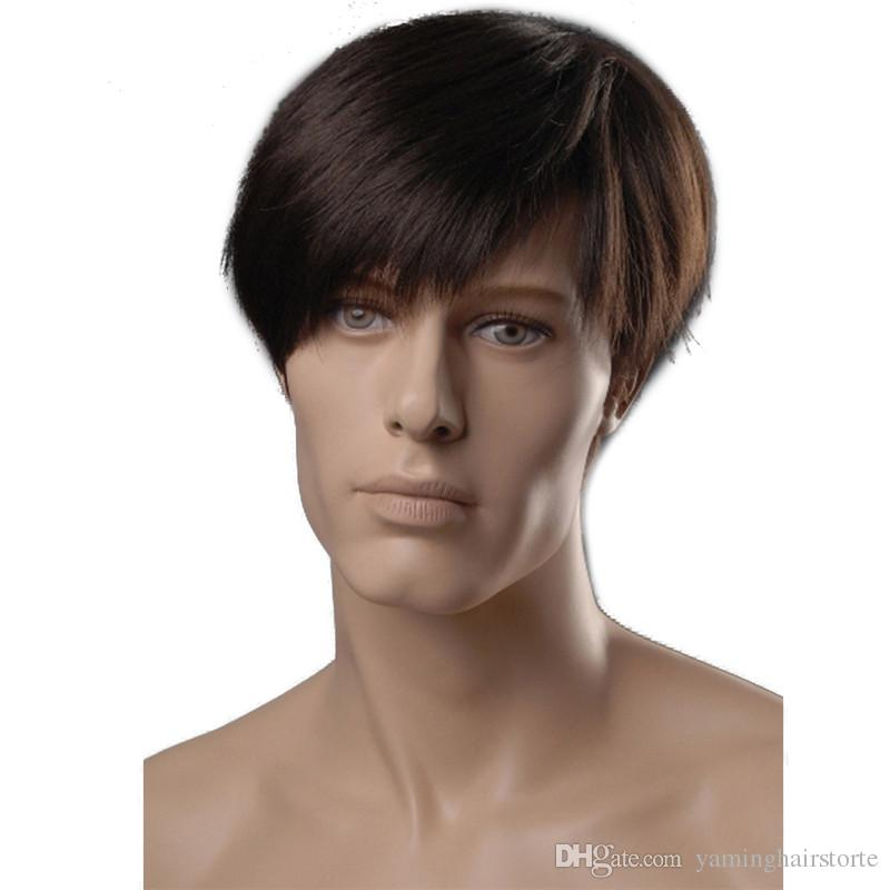 6 Inch Short Straight Synthetic Men Wigs Dark Brown Color Natural Male Wig with Side Bangs Heat Resistant Japanese Fiber