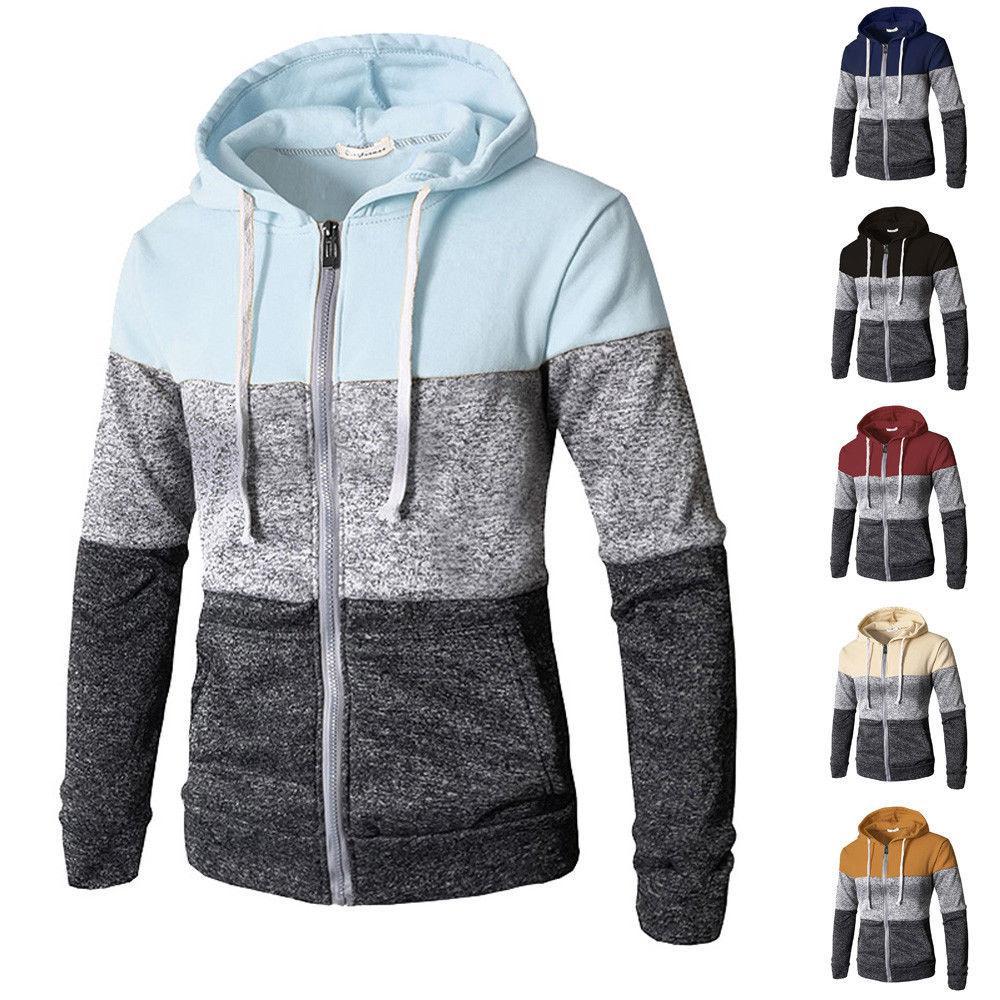 2019 En Yeni Erkekler Rasgele Elastik Triko Coat Tops Ceket Dış Giyim Triko Jogger Fermuar Erkekler Sonbahar Kış Hoody Sweatercoat V191022 Up Zip