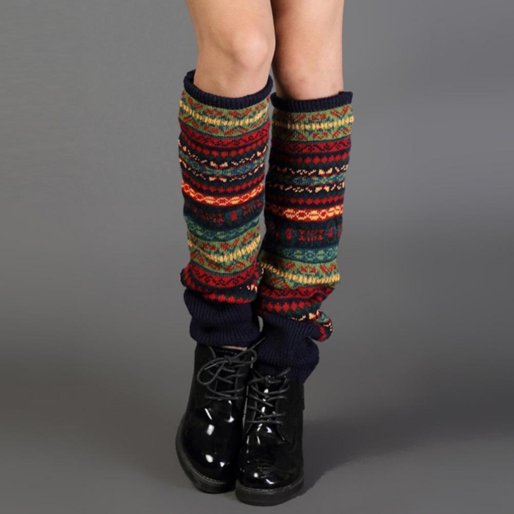 Mulheres Bohemis Crochet Malha Longa Pernas Aquecedores Spring Patchwork Joelho Alta Quente Meias de Inicialização